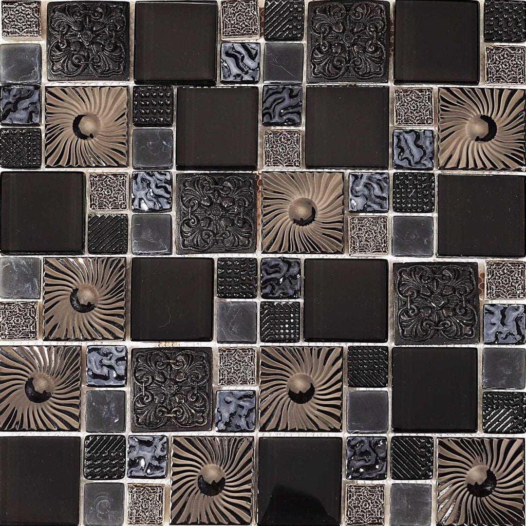 Black And Silver Patterned Glass And Ceramic Mosaic Tile