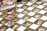 Polished Stainless Steel and Patterned Gold Glass Mosaic Tile Sheet (MT0157)