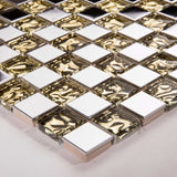 Sample of Polished Stainless Steel and Patterned Gold Glass Mosaic Tile Sheet (MT0157)