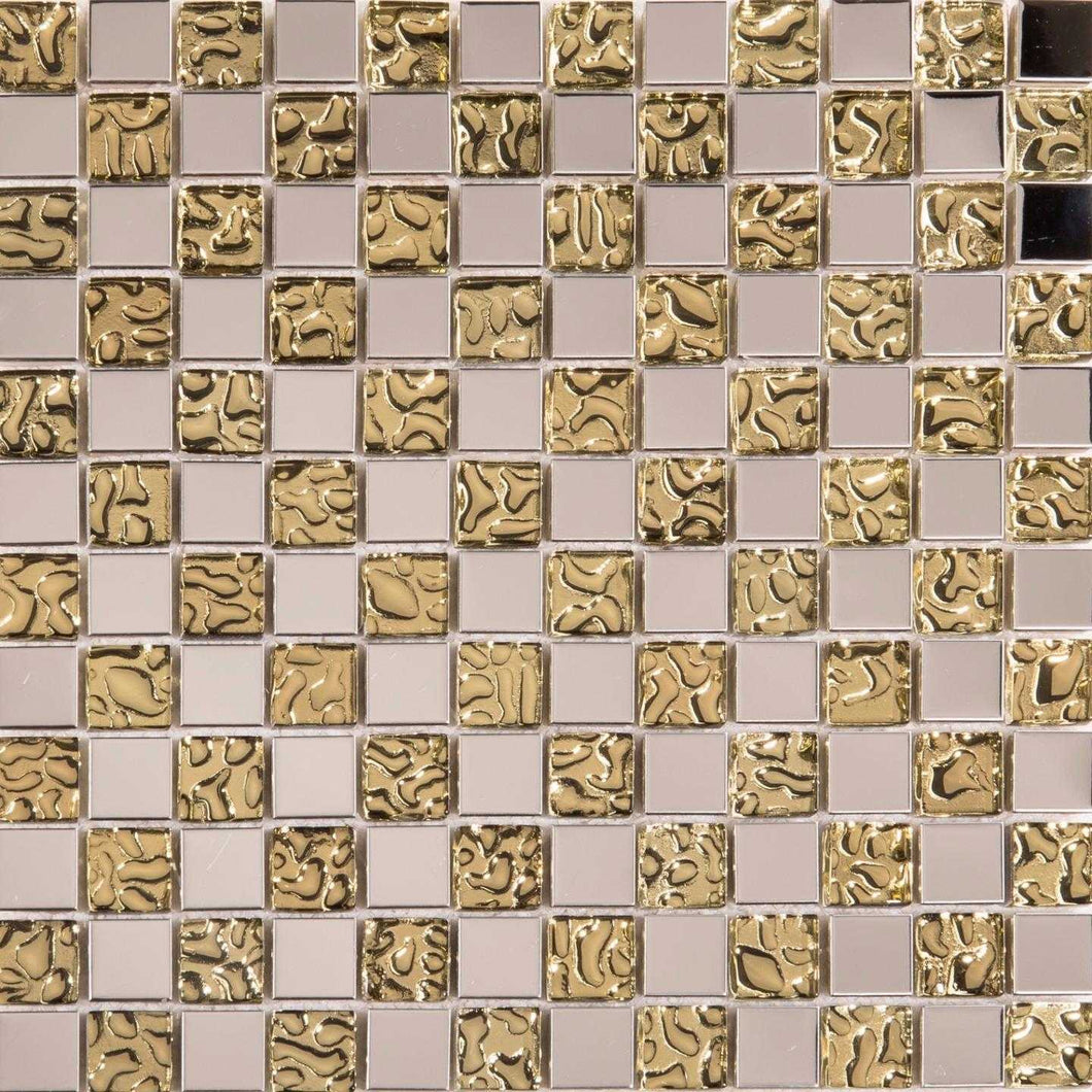 Polished Stainless Steel & Patterned Gold Glass Mosaic Tiles (MT0157)