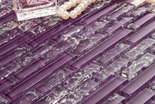 Load image into Gallery viewer, Sample of Purple Crackle and Plain Glass Mosaic Wall Tile Sheet (MT0168)