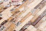 Sample of Brown and Beige Crackle Glass & Marble Mosaic Tile (MT0154)