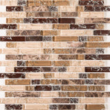 Brown and Beige Crackle Glass & Marble Mosaic Tiles (MT0154)