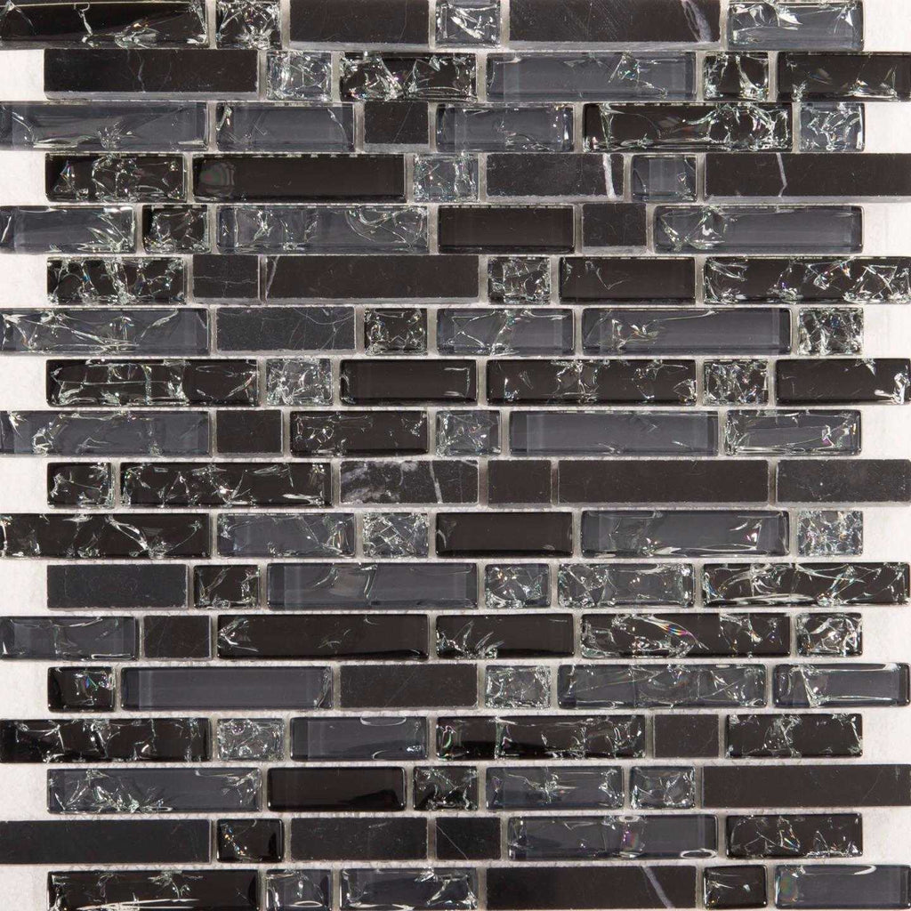 Black Amp Grey Glass Amp Black Stone Brick Shape Mosaic Tile