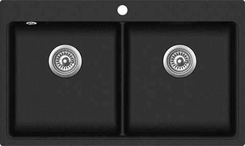 860mm x 510mm Double Bowl Inset Composite Sink CS006