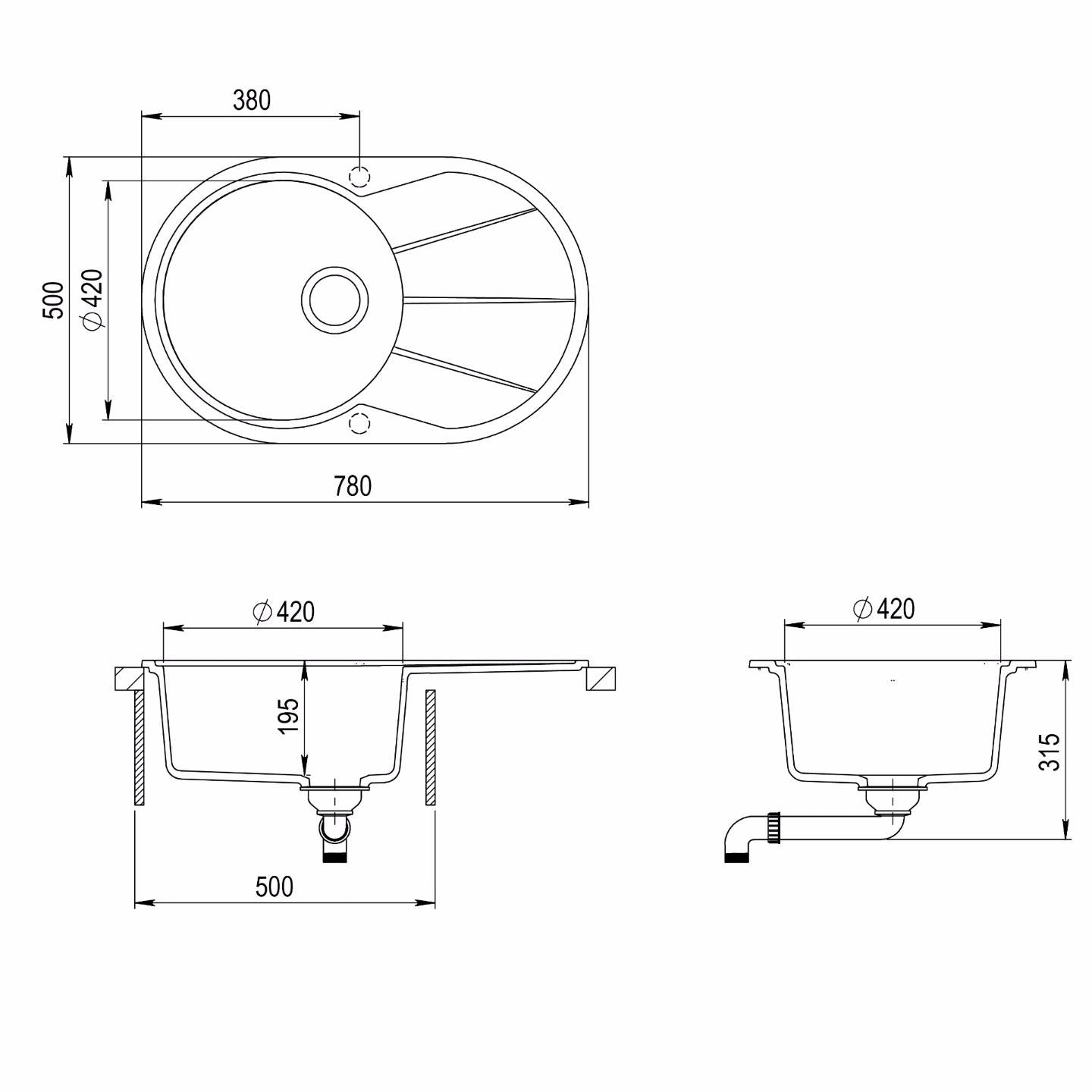 780 x 500mm Reversible Round Single Bowl Inset Composite Sink with Drainer CS009