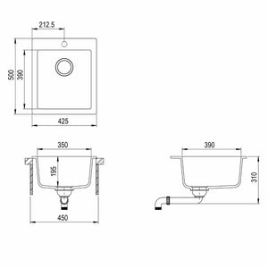 425mm x 500mm Single Bowl Inset Composite Sink With Tap Hole CS007
