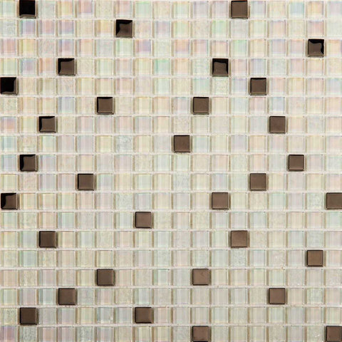 White Iridescent Textured and Smooth Glass Mosaic Tiles (MT0143)