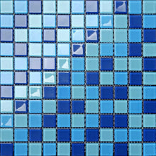 Load image into Gallery viewer, Sample of Blue & Aqua Glass Mosaic Tiles Sheet (MT0163)