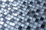Black & Silver Glass and Brushed Steel Mosaic Tiles (MT0151)