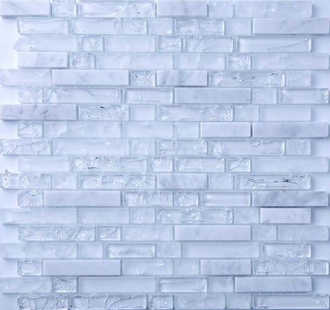 Clear and Frosted White Glass & White Stone Brick Shape Mosaic Tiles  (MT0153)