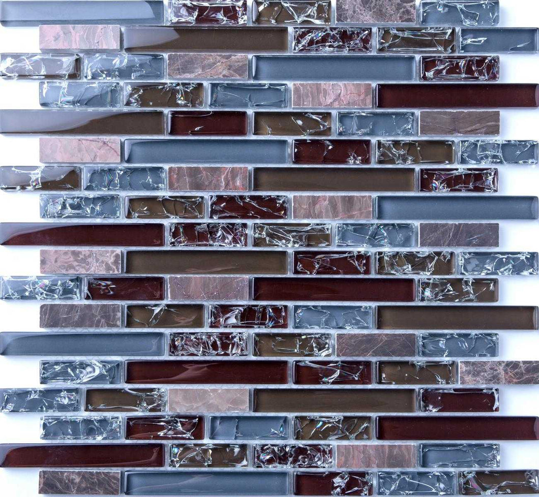 Blue and Brown Crackle Glass & Marble Mosaic Tiles (MT0156)