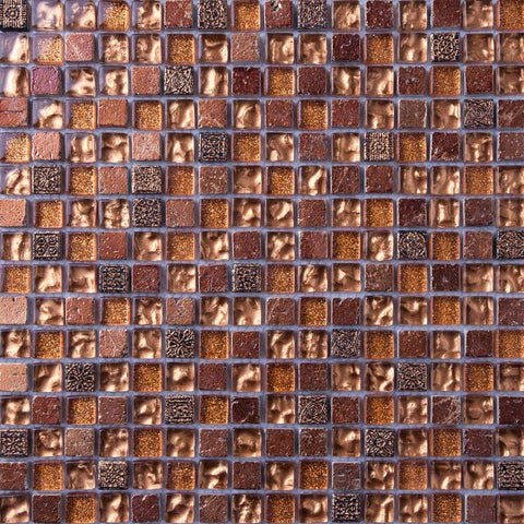 Gold Glass & Brown Stone Mosaic Tiles (MT0158)