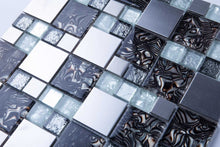 Load image into Gallery viewer, White and Silver Glass & Stainless Steel Mosaic Tiles (MT0164)