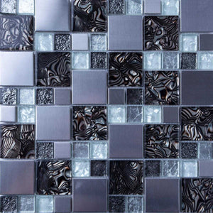 White and Silver Glass & Stainless Steel Mosaic Tiles (MT0164)