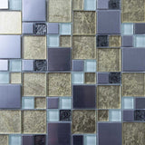 Sample of Gold & Silver Foil Glass & Brushed Stainless Steel Mosaic Tiles (MT0166)