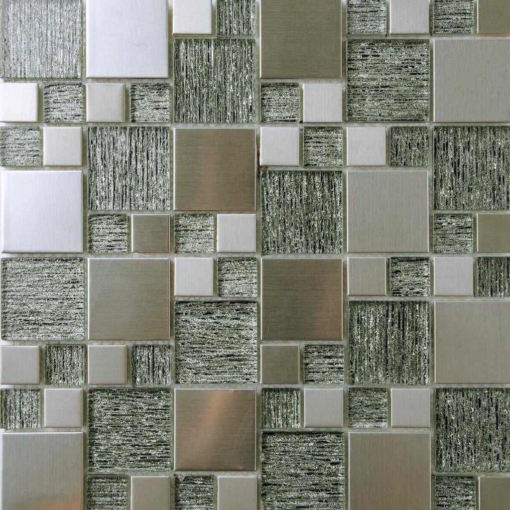 Silver Glass & Brushed Steel Mosaic Tiles (MT0150)
