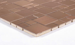 Brushed Copper Effect Stainless Steel Mosaic Tiles (MT0174)