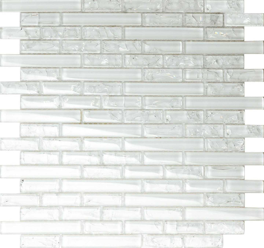 White Crackle & Plain Glass Mosaic Wall Tiles (MT0140)