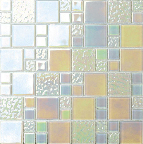 White Iridescent Modular Mix Mosaic Tiles Sheet (MT0173)