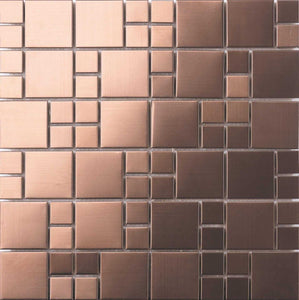 Sample of Brushed Copper Effect Stainless Steel Mosaic Tiles (MT0174)