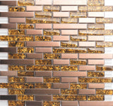 Amber Glass & Brushed Copper Effect Stainless Steel Mosaic Tiles (MT0169)