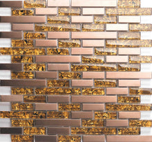 Load image into Gallery viewer, Sample of Amber Glass & Brushed Copper Effect Stainless Steel Mosaic Tiles (MT0169)
