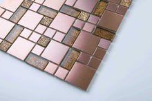 Load image into Gallery viewer, Gold Foil Glass & Brushed Copper Effect Stainless Steel Mosaic Tiles (MT0165)