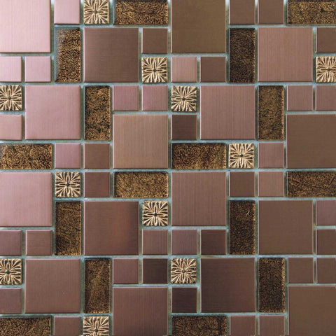 Gold Foil Glass & Brushed Copper Effect Stainless Steel Mosaic Tiles (MT0165)