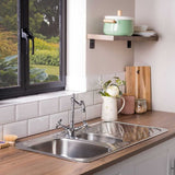 Satin Steel Single Bowl Kitchen Sink | Astracast Ruby | Grand Taps