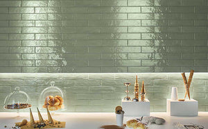 Green Gloss Brick Wall Tiles | Green Feature Wall | Grand Taps