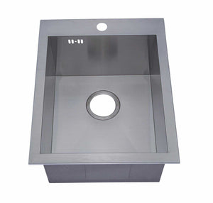 400 x 500mm Inset Single Bowl Handmade Stainless Steel Kitchen Sink with Pre-punched Tap Hole (DS021-1)