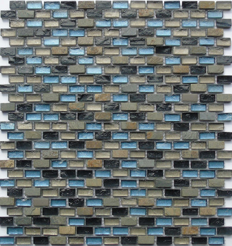 Blue, Black and Silver Glass & Natural Stone Brick Shape Mosaic Tiles Sheet (MT0126)