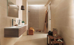 Beige Rigged Bathroom Wall Tiles | Cream Groove Wall Tiles | Grand Taps