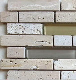 Natural Earth Colours Glass And Stone Brick Shape Mosaic Tiles Sheet (MT0001)