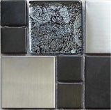 Metallic Random Mix Black & Brushed Steel, Foil Backed Glass Mosaic Tiles (MT0002)