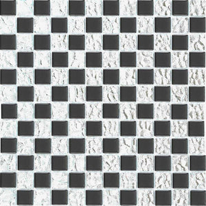 Black Silver Glass Square Mosaic Bathroom Kitchen Tiles | Grand Taps