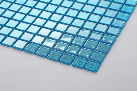 Ocean Blue Glitter Glass Mosaic Tiles Mt0008