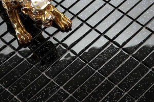Sample of Black Glitter Rectangle Mosaic Tiles (MT0010)