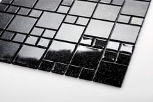 Load image into Gallery viewer, Black Glitter Mixed Size Mosaic Kitchen Bathroom Tiles | Grand Taps