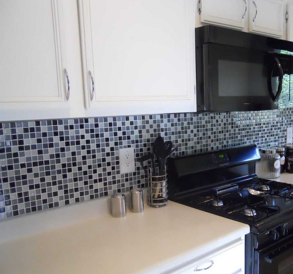 Blue Kitchen Tiles >> Sample Of Black Blue Grey White Glass Mosaic Tiles Mt0013