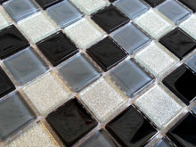 Load image into Gallery viewer, Black Grey Glitter Silver Glass Mosaic Bathroom Kitchen Tiles | Grand Taps