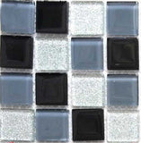 Black Blue-Grey Glitter Silver Glass Mosaic Tiles Sheet (MT0014)
