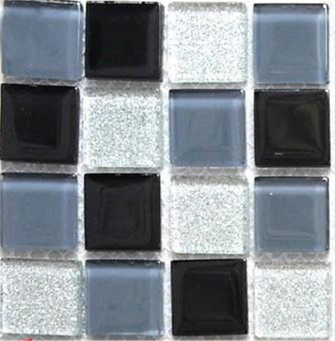 Black Grey Glitter Silver Glass Mosaic Bathroom Kitchen Tiles | Grand Taps