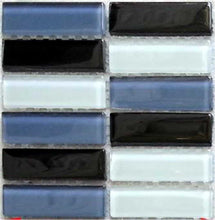 Load image into Gallery viewer, Black Grey White Glass Mosaic Bathroom Kitchen Tiles | Grand Taps