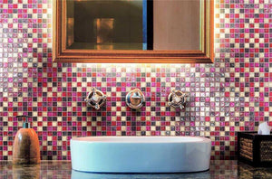 Pink Red Glass Mosaic Kitchen Splashback & Bathroom Tiles | Grand Taps