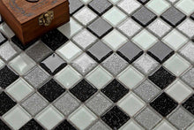 Load image into Gallery viewer, Black Silver Mosaic Kitchen Tiles | Glitter Bathroom Tiles | Grand Taps