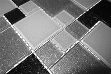Load image into Gallery viewer, Silver Glitter Kitchen Tiles | Black Glitter Bathroom Tiles | Grand Taps