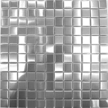Load image into Gallery viewer, Sample of Brushed Silver Stainless Steel Mosaic Tiles Sheet (MT0036)