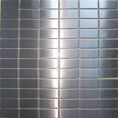 Brushed Silver Stainless Steel Mosaic Wall Tiles Sheet (MT0037)